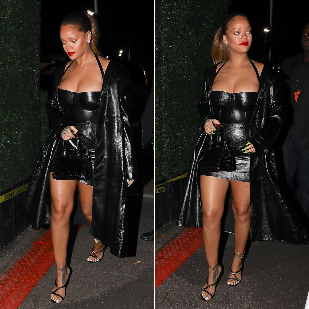 Rihanna custom Dior black leather dress and coat Jay Z 4:44 show, Giuseppe Zanotti Aleesha mule with snake anklet, Gentle Monster Plip red sunglasses