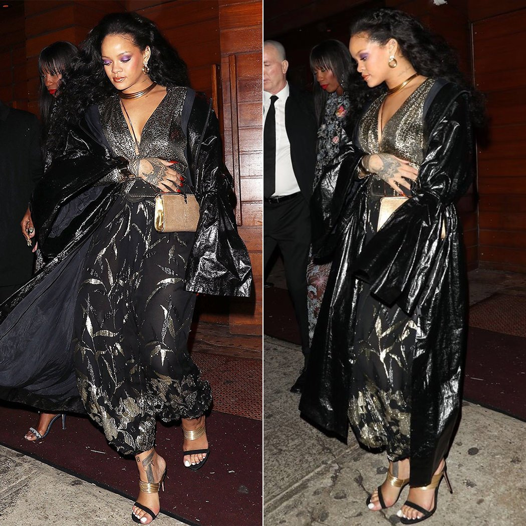 Rihanna Micol Ragni black coat, YSL tie front top and harem pants, Aquazzura Rendez Vous sandals, Bulgari cocktail clutch, Tiffany Elsa Peretti bone cuff, Lalaounis gold necklace