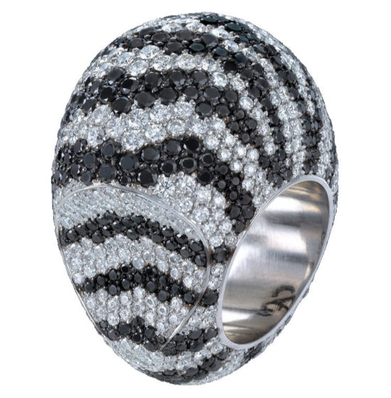 Jacob and Co black and white diamond zebra dome ring as seen on Rihanna