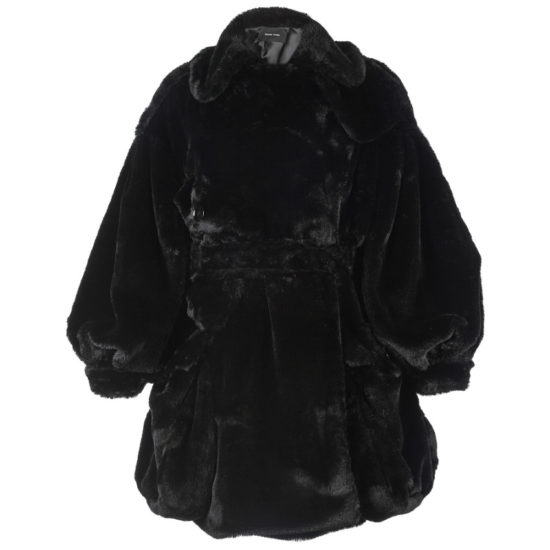 Simone Rocha black faux fur biker jacket as seen on Rihanna