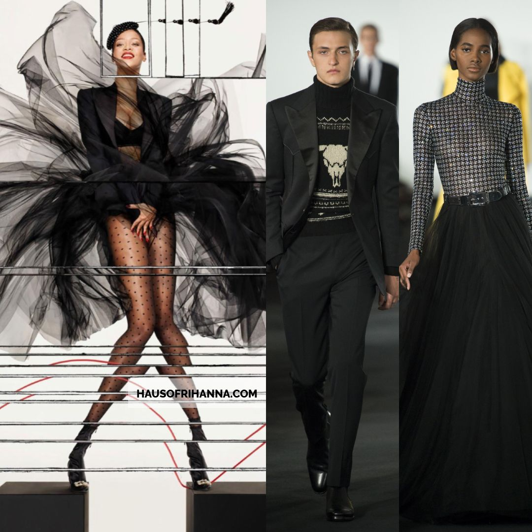 Rihanna Vogue Paris December 2017 Ralph Lauren jacket and black tulle skirt