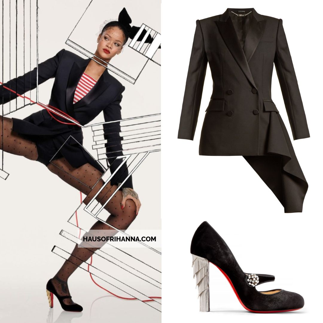 Rihanna Vogue Paris December 2017 Alexander McQueen asymmetric jacket, Christian Louboutin Rex pumps, Piers Atkinson hat