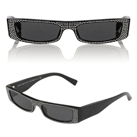 Alexandre Vauthier x Alain Mikli EdwidgeJeweled black crystal embellished rectangular sunglasses as seen on Rihanna