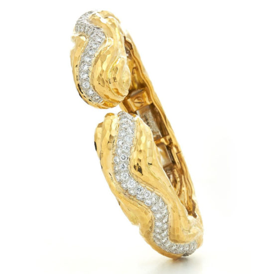 David Webb Ancient World 18k yellow gold, platinum and diamond cuff bracelet as seen on Rihanna