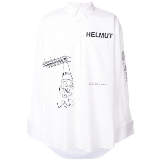 Helmut Lang white graphic index button shirt as seen on Rihanna