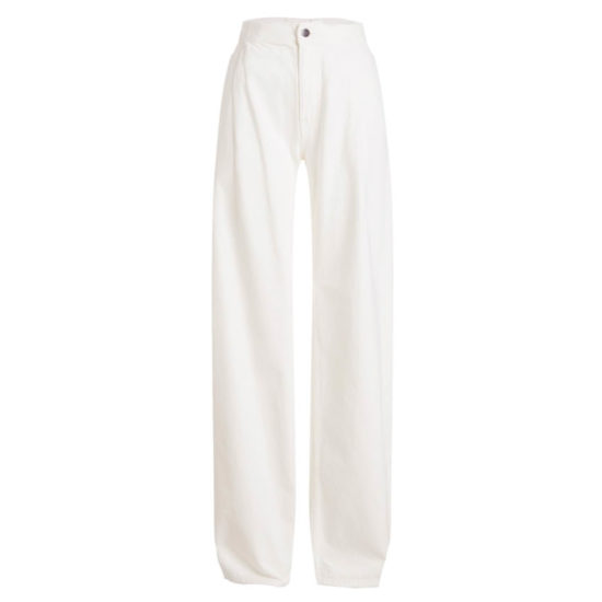 Maison Margiela white wide leg jeans as seen on Rihanna