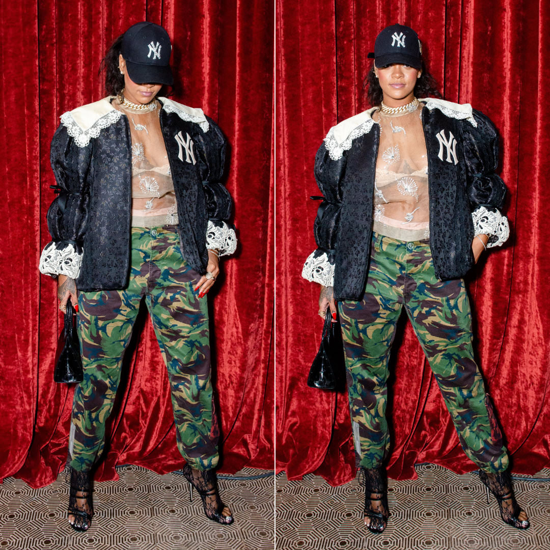 Rihanna Gucci lace trim jacket New York cap and lace tights, Dries Van Noten crystal-embellished sheer top, Off-White camo chino work pants, Manolo Blahnik Andena patent leather mules, Azzedine Alaia mini tote bag, Savage x Fenty bra