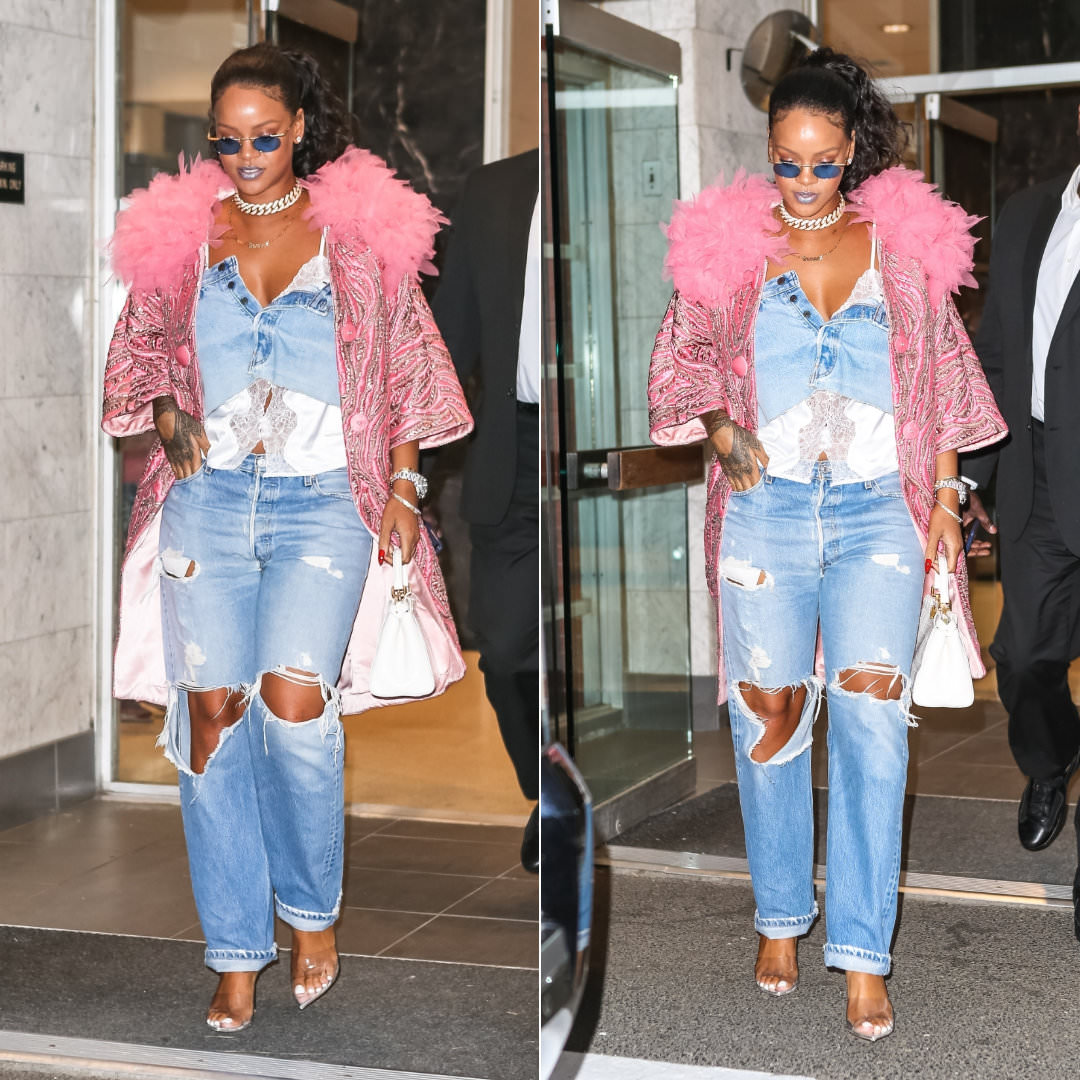 Rihanna Marc Jacobs pink flower collar coat New York, Savage x Fenty white camisole top, Gianvito Rossi silver PVC mules, Fendi white Peekaboo Mini crocodile handbag, Jennifer Fisher custom savagex necklace, Levi's 501 distressed jeans