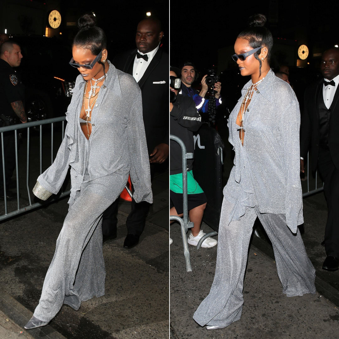 Rihanna Met Gala after-party Nina Ricci fall 2018 top and pants, Dorateymur shoes, Judith Leiber crystal bucket bag, Crap Eyewear The Paradise Machine sunglasses, Rafaello and Co necklaces, XIV Karats rosaries, Konstantino Flamenco Gold earrings, Maria Tash scalloped earring