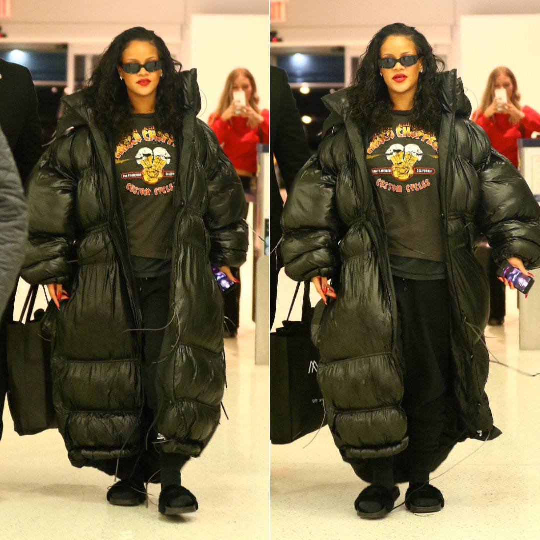 Rihanna Pluto Close Hannah Wallace oversize black puffer coat, Frisco Choppers vintage flames t-shirt, Off-White black logo sweatpants, Fenty x Puma black fur slides