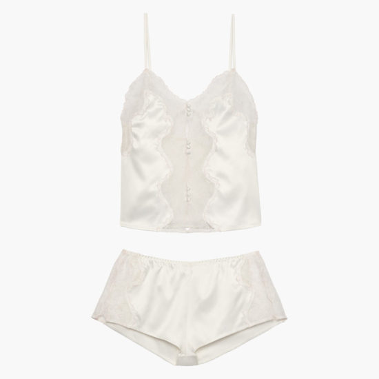 Savage x Fenty cami and shorty set in pearl white as seen on Rihanna