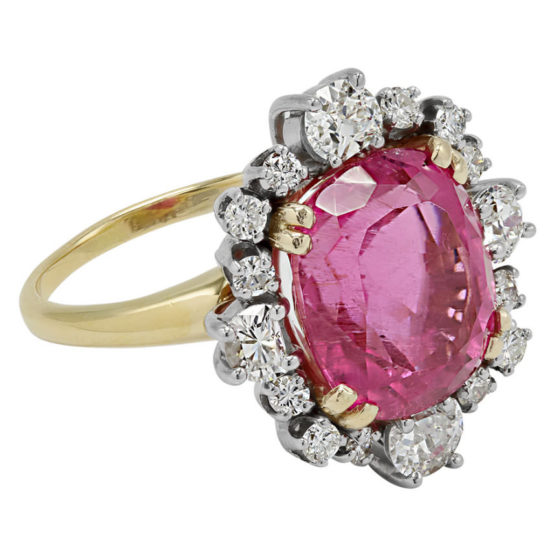 Beladora pink tourmaline and white diamond cocktail ring as seen on Rihanna