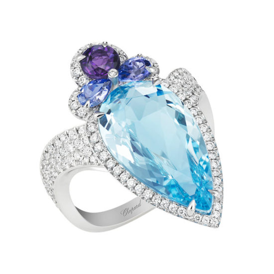 Chopard aquamarine, amethyst, tanzanite and diamond ring as seen on Rihanna