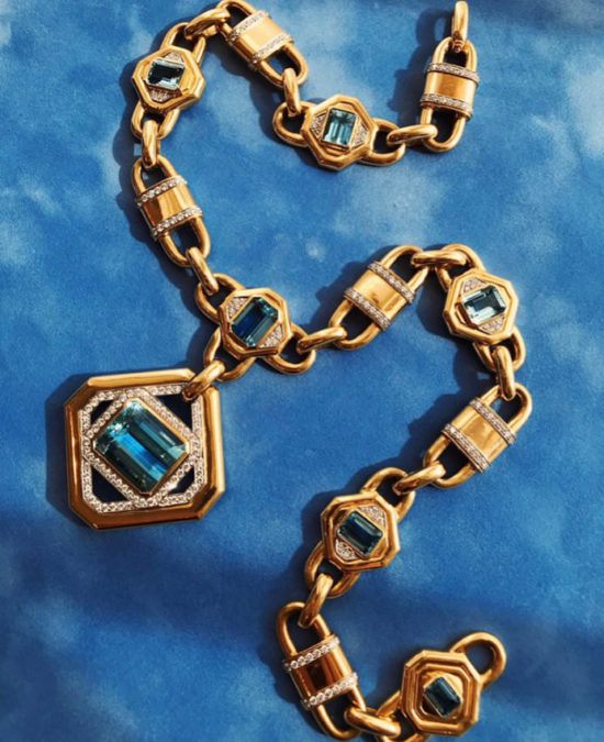David Webb gold, diamond and aquamarine necklace as seen on Rihanna