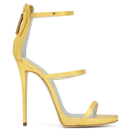 Giuseppe Zanotti gold Harmony strappy sandals as seen on Rihanna