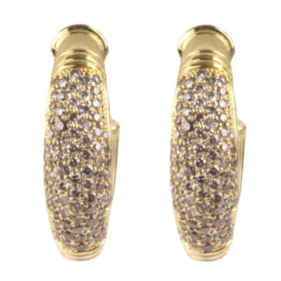 Konstantino Flamenco Gold pave diamond J hoop earrings as seen on Rihanna