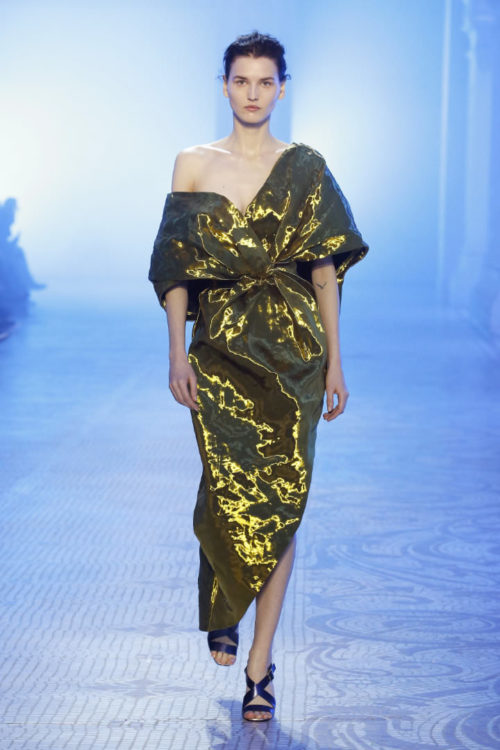 Poiret gold off-the-shoulder draped gown as seen on Rihanna
