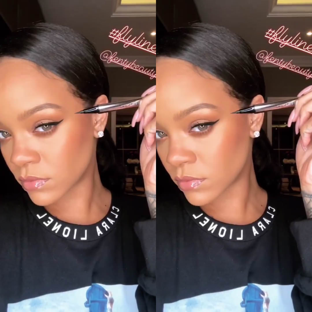 Rihanna Fenty Beauty Flyliner eyeliner black, Clara Lionel Foundation long sleeve t-shirt