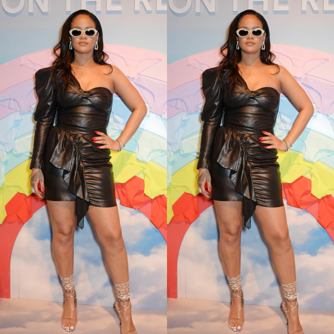 Rihanna Savage Pop-up black leather dress Isabel Marant Noop top and Nela skirt, Manolo Blahnik strappy PVC sandals