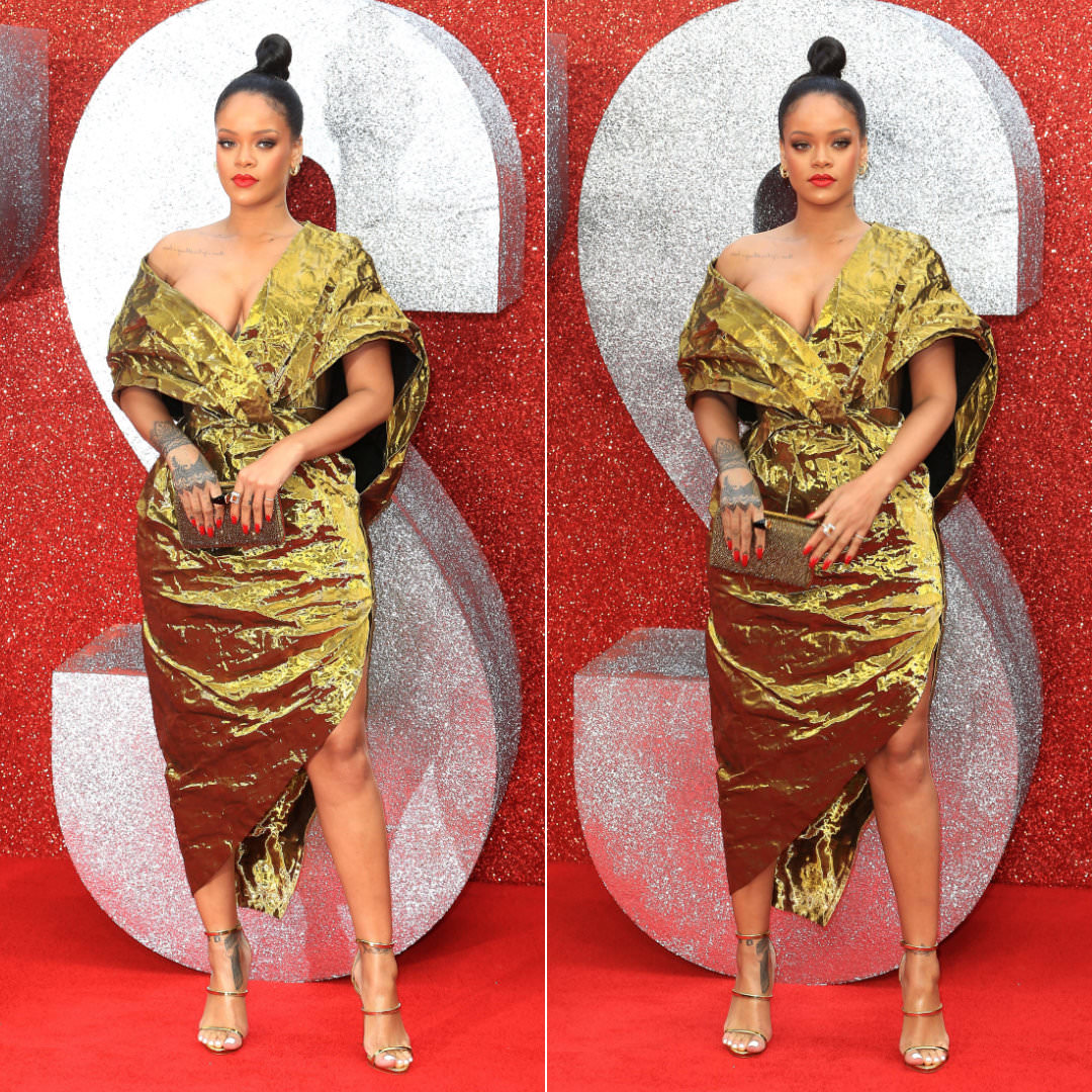 Rihanna Poiret gold dress Ocean's 8 London premiere, Giuseppe Zanotti Harmony sandals, Christian Louboutin Vanite crystal clutch, Eleuteri onyx and citrine ring, Harry Kotlar yellow diamond ring, Konstantino gold hoop earrings, Maria Tash hoop earring