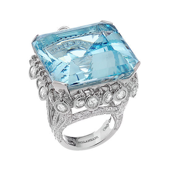 Spallanzani diamond and aquamarine Anello Blue Lagoon ring as seen on Rihanna