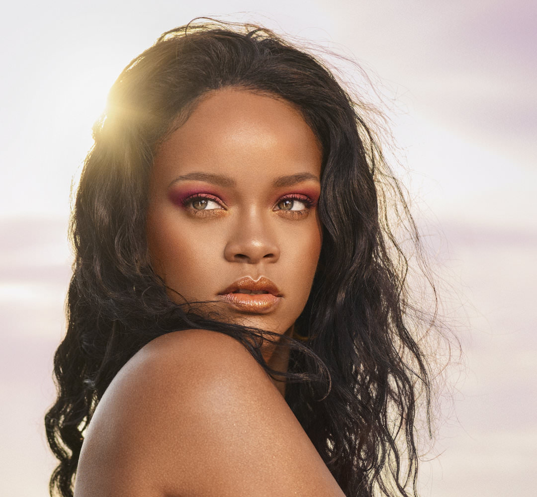 Rihanna in Fenty Beauty Beach Please campaign