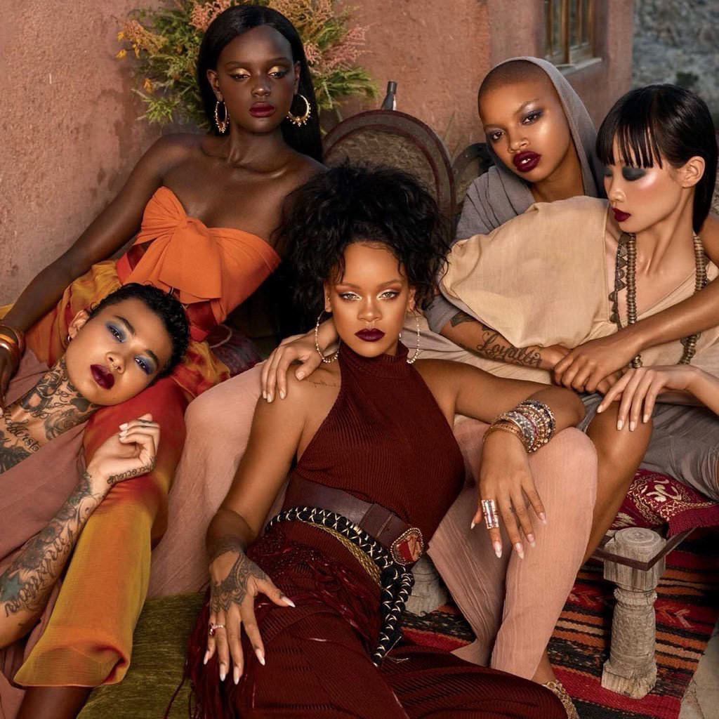 Rihanna Beaufille halter Fenty Beauty campaign, Pat Areias belt, XIV Karats earrings, rings and bangles