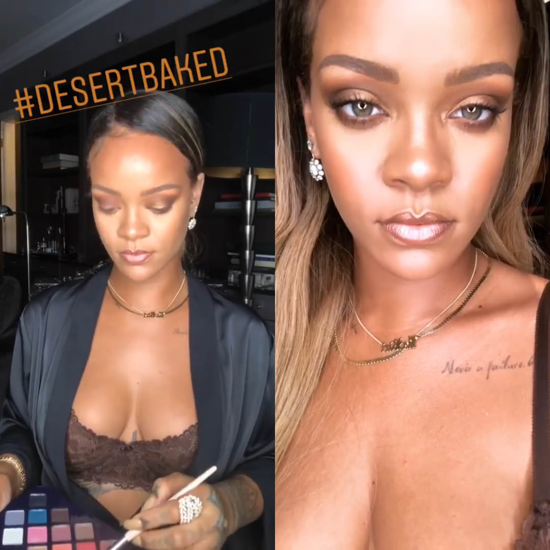 Rihanna Savage Fenty bra robe Instagram Story, XIV Karats diamond earrings and gold necklace, Fenty Beauty Moroccan Spice eyeshadow palette