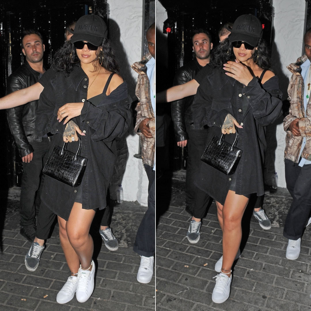 Rihanna Matthew Adams Dolan black denim shirt London, Juun.J black Archive hat, Off-White x Warby Parker large sunglasses, Puma white Basket Classic sneakers, Azzedine Alaia mini tote handbag