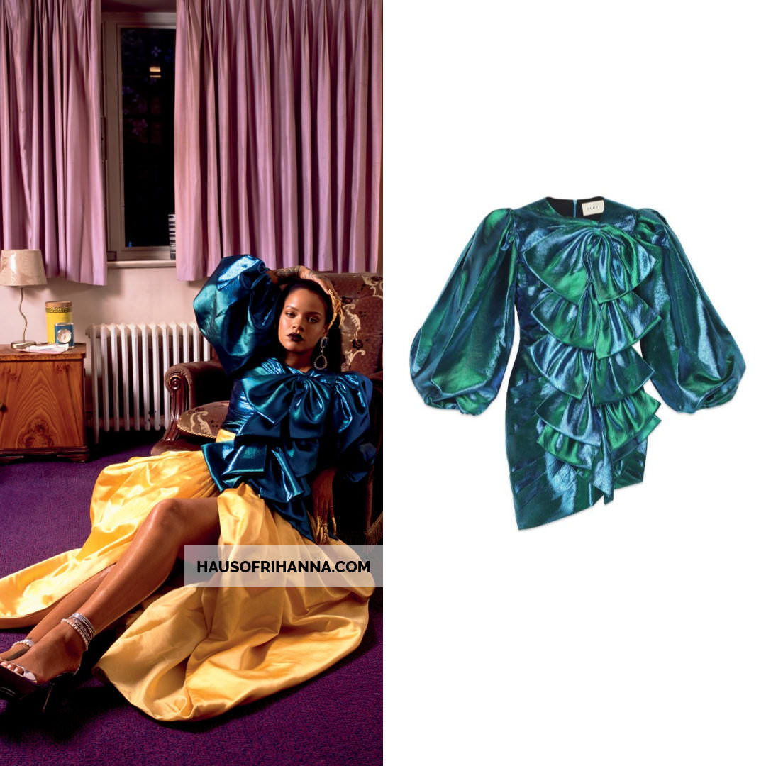 Rihanna Garage Magazine September 2018 Gucci lurex dress with bows, One of a Kind Archive yellow skirt