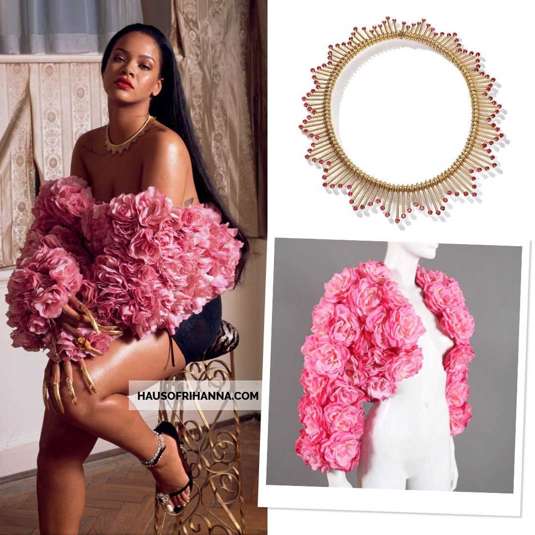 Rihanna Garage Magazine September 2018 Tiffany and Co Schlumberger Chevron Fringe necklace, Rachel London pink floral bolero jacket, Y/Project Fall 2018 black sandals