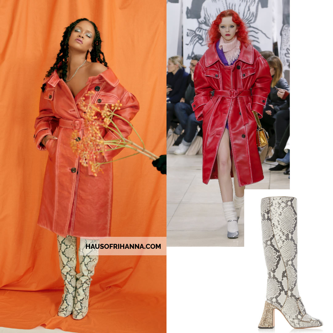 Rihanna Allure magazine Best of Beauty 2018 issue Miu Miu coat, Rochas snakeskin boots, Chrome Hearts necklace