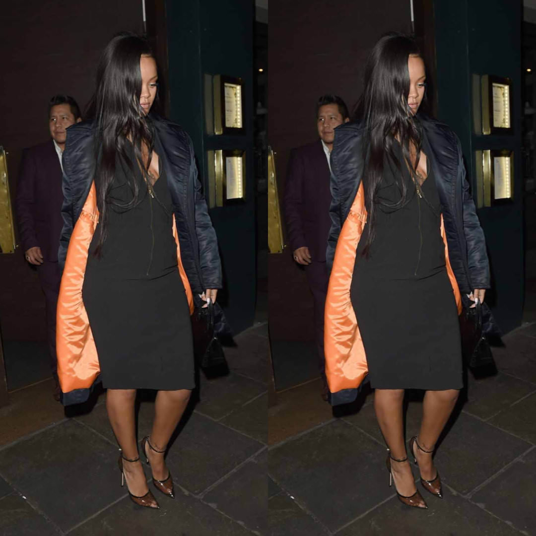Rihanna Calvin Klein Richard Avedon black coat, Chanel vintage black dress, Gianvito Rossi Sabin sheer black PVC pumps, Azzedine Alaia black mini tote handbag