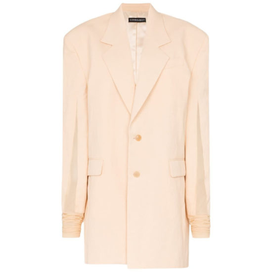 Y/Project peach oversized boxy blazer as seen on Rihanna