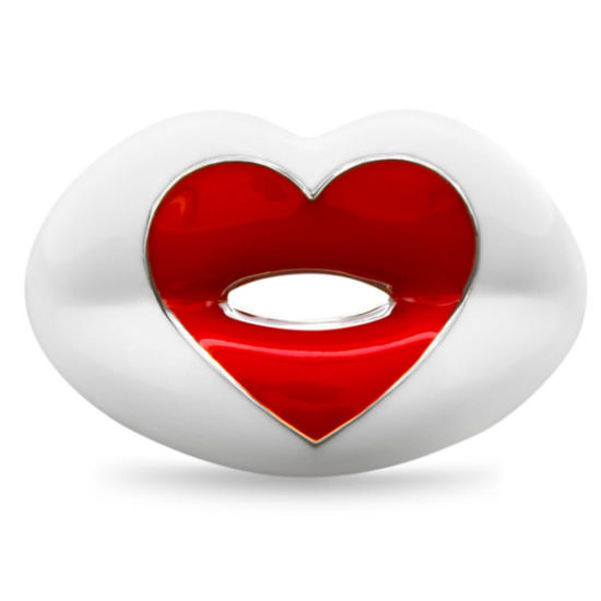 Hot Lips by Solange white Love Heart ring as seen on Rihanna