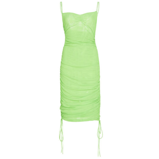 Priscavera neon green ruched mesh dress as seen on Rihanna