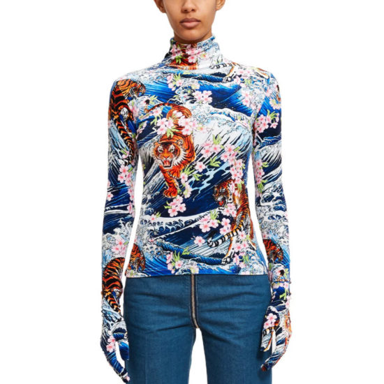 Richard Quinn Tiger Wave roll top with glove sleeves as seen on Rihanna