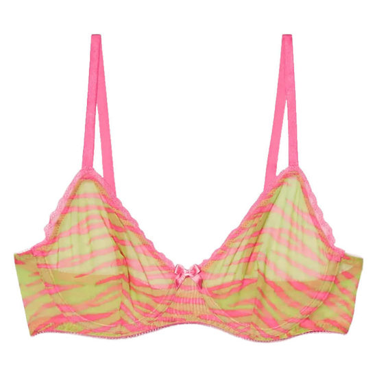 Savage x Fenty unlined mesh bra pink tiger stripes as seen on Rihanna