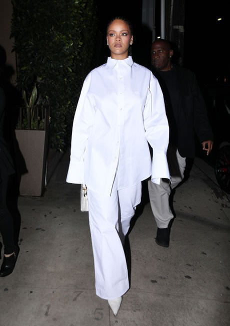 Rihanna Balenciaga white logo button shirt and pointed ankle boots, Fendi Peekaboo Mini handbag in white crocodile