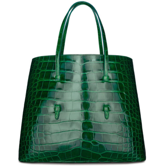Azzedine Alaia green crocodile tote as seen on Rihanna