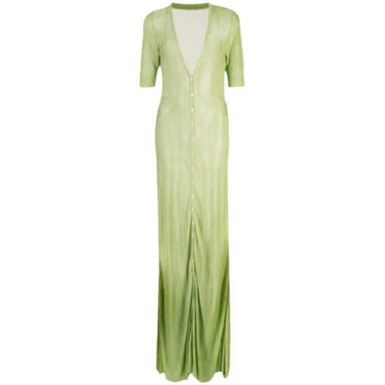 Jacquemus sheer green cardigan dress as seen on Rihanna