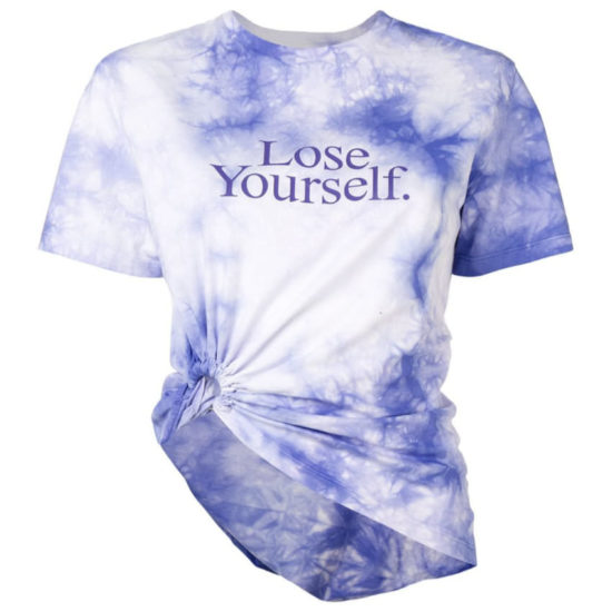 Paco Rabanne Lose Yourself purple tie-dye t-shirt as seen on Rihanna