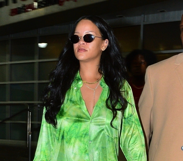 Rihanna in green Comme des Garcons tie dye shirt