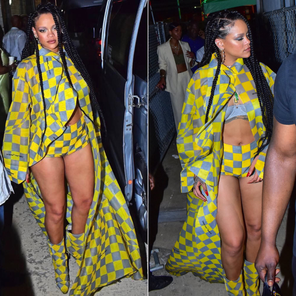 Rihanna Off-White checkered outfit yellow grey shirt, shorts, boots and Maria Tash earrings