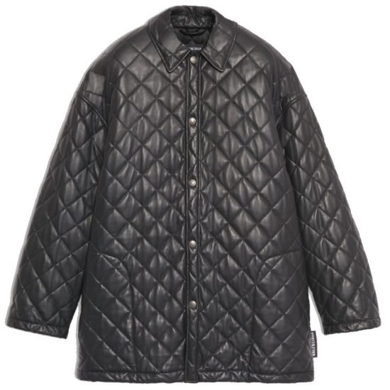 Balenciaga black quilted leather shirt jacket as seen on Rihanna