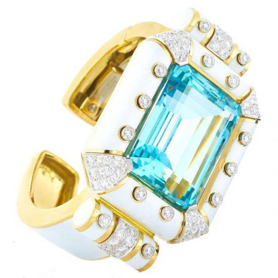 David Webb Aquamarine stud cuff as seen on Rihanna