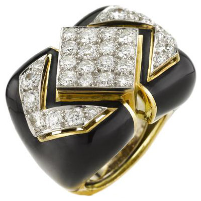 David webb black enamel and diamond ring as seen on Rihanna