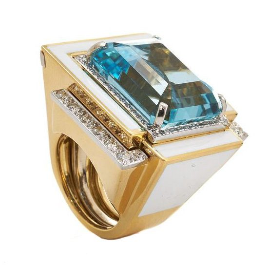 David Webb cubist aquamarine ring as seen on Rihanna