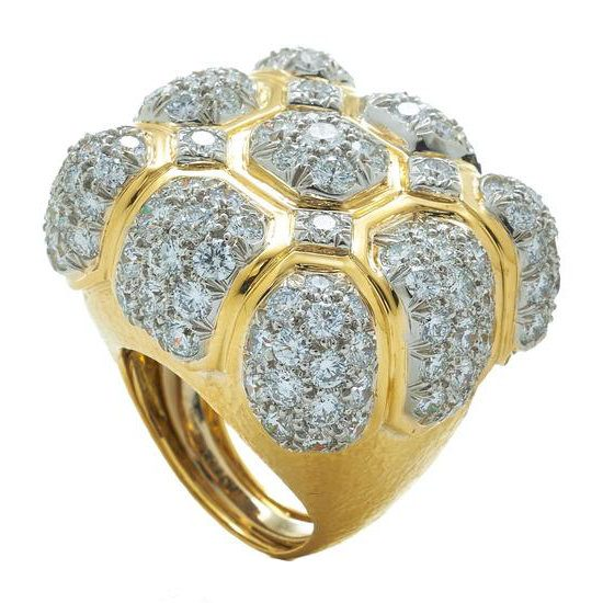 David Webb hammered yellow gold and diamond ring as seen on Rihanna