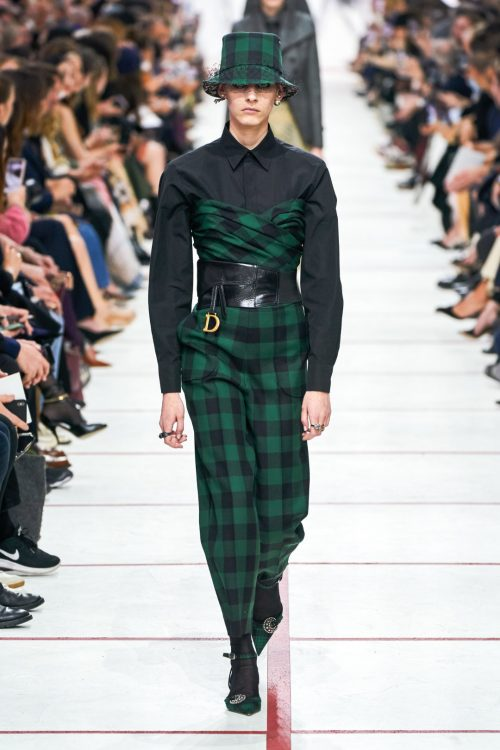 Dior fall 2019 checked green black jumpsuit as seen on Rihanna